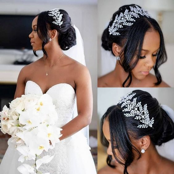 26 Beautiful Hairstyles For The African American Bride In 2020 Natural Wedding Hairstyles Black Wedding Hairstyles Black Brides Hairstyles