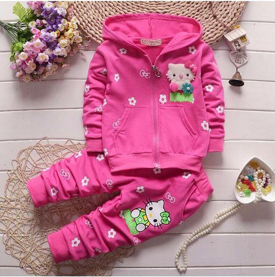 Весна Осень Новорожденных Девочек Одежда Набор Hello Kitty Kid Одежда Набор…