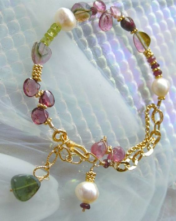 Pink Watermelon Tourmaline Slices briolettes charms Gold filled by gembliss