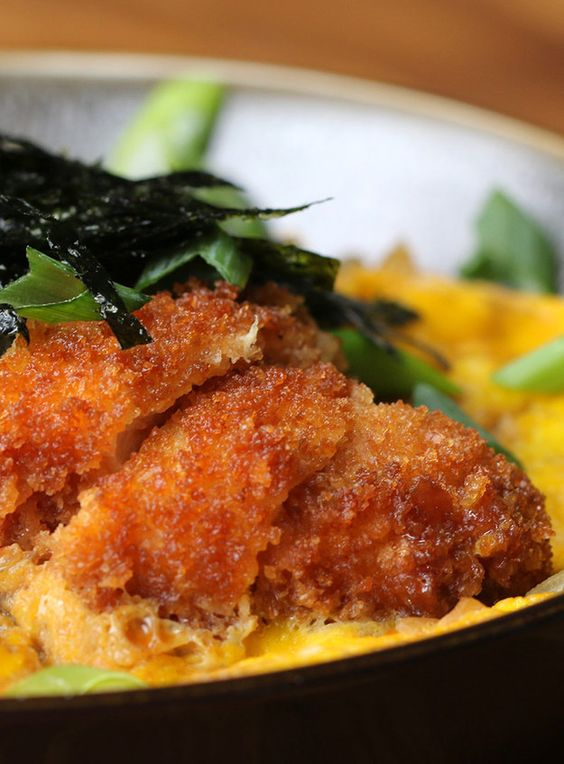 Fried Chicken And Egg Rice Bowl