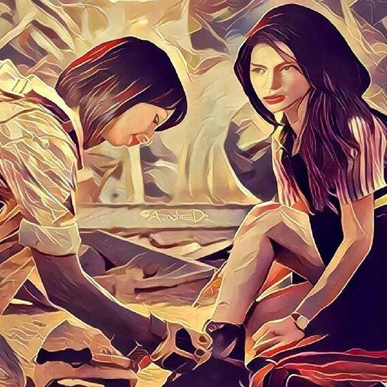 Rastro... Foto editada que encontrei no Twitter e a usei no Prisma. Usaram uma foto da série coreana Descendent's Of the Sun. Amei!