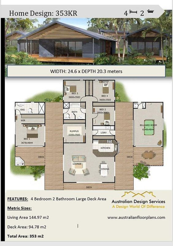 Acreage Home Design 4 Or 5 Bedrooms 2 Bath Rooms Plus Etsy Affordable House Plans Contemporary House Plans House Design