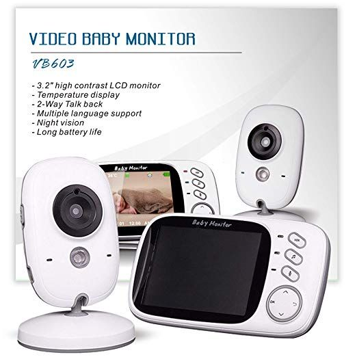 Baby Monitor LCD Screen 2 Way Talk 8 Lullabies Temperature Night Visions Devices