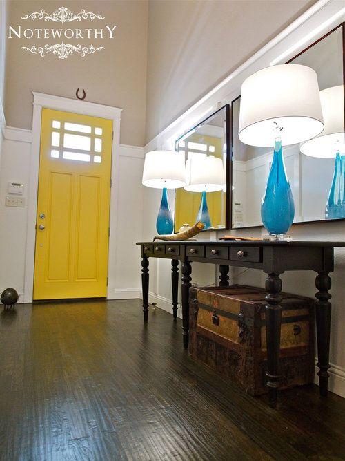 yellow front door, blue lamp