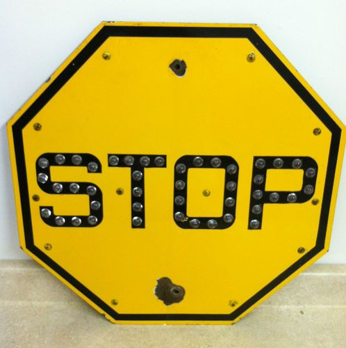 Vintage Yellow Porcelain 24 Quot Stop Sign W Glass Cat Eye