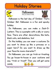 Worksheets 2nd Grade Stories second grade reading comprehension worksheet holiday stories halloween pinterest and holiday