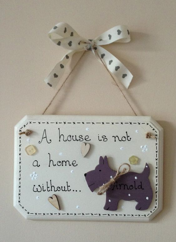 Handmade hanging shabby chic dog wall plaque by for Wood plaques for crafts