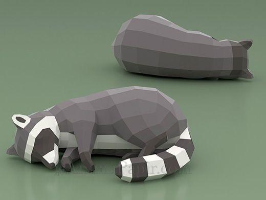 Mapache Dormido In 2020 Papiermodell Papier Tiere Tiervorlagen
