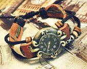 Wristwatch Handmade Wrist Watches Vintage Ladies Girls Womens Mens Leather Bangle Beaded Bracelet Quartz Square Shape