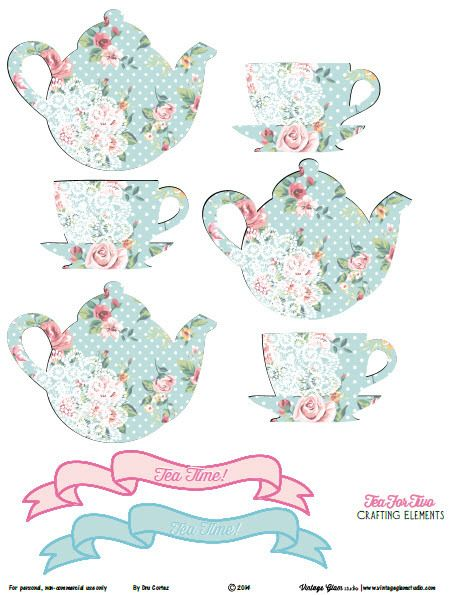Shabby Chic Tea For Two Crafting Elements Free Printable