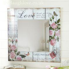Espelho com falso Ripado e decoupage