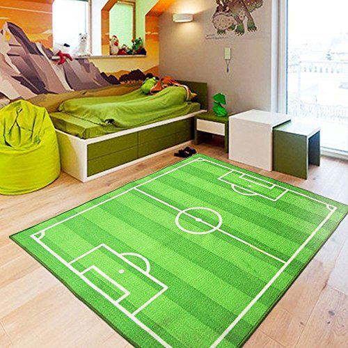 Soccer Field Ground Area Rug