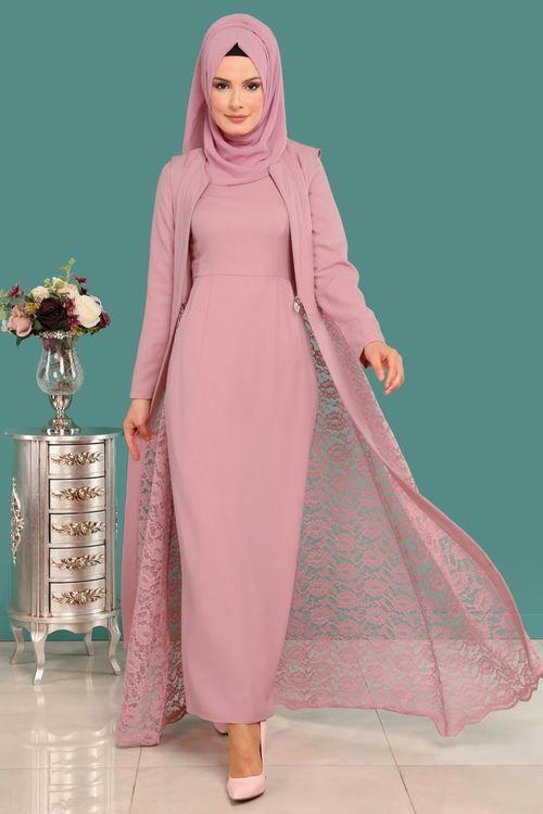 Modaselvim Bugune Ozel Yelegi Dantel 2 Li Kombin Msw8642 S Pudra Model Pakaian Hijab Pakaian Wanita Gaya Model Pakaian
