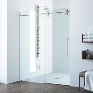 Contractors Wardrobe Model 7800 60 In X 76 In Frameless Sliding Shower Door In Bronze With Circular Thru Glass Door Pull 78 6076bzclr The Home Depot Frameless Bypass Shower Doors Sliding Shower Door