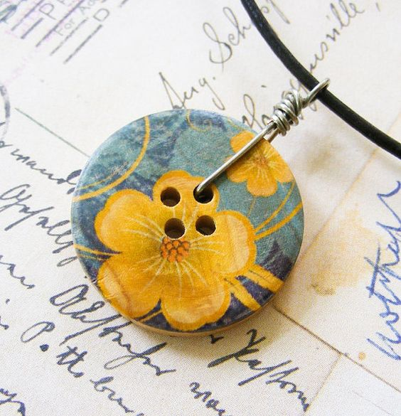 Golden Hibiscus Painted Wooden Button Wire by meiguidesigns, $9.90