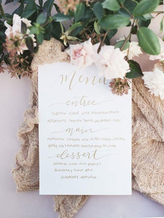 We love the sophisticated simplicity of this wedding stationery menu card! Photographer: Whitney Heard Photography via Style Me Pretty