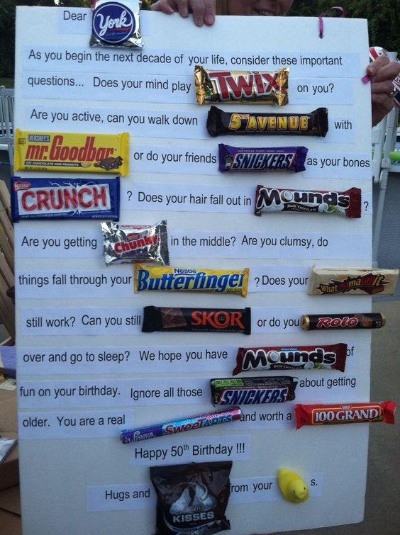 Candy Bar Sign - combination. 50th Birthday Candy Gram ...