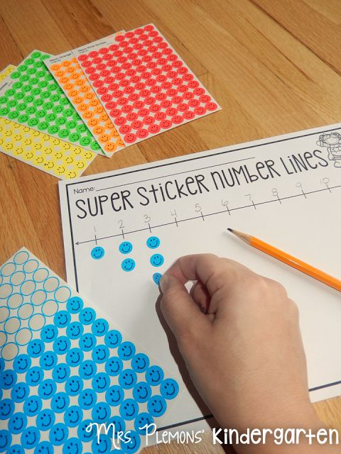 """Build Kindergarten Number Sense with these 20 differentiated centers! With """"Super Sticker Number Lines,"""" students practice number order and one to one correspondence in creating their own number lines."""