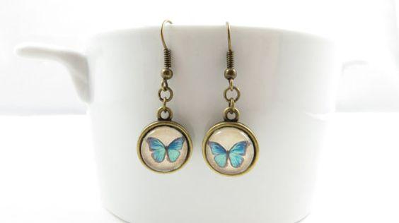 Butterfly Dangle Earrings  1/2 Stud Earrings  by thisandthatbyjane, $15.00