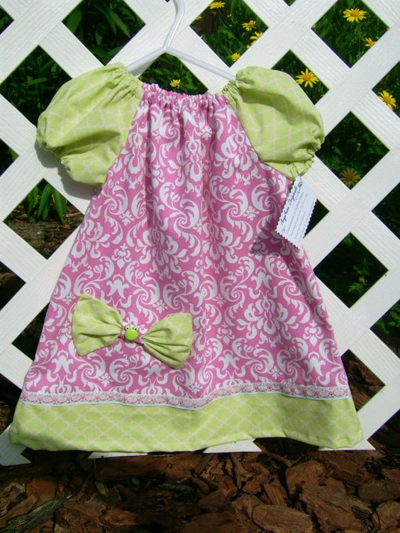 Lime and pink peasant style baby dress by AvyAnneOriginals on Etsy, $30.00