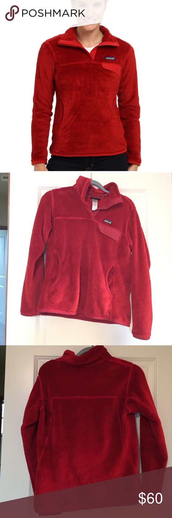 Patagonia Re-Tool Snap-T Size M Patagonia Re-Tool Snap-T in red. Gently used, in great condition. This color is discontinued so get it here while you can! First pic shows color, my lighting is bad, I'll retake when I can. Listed onⓂ️ Patagonia Sweaters