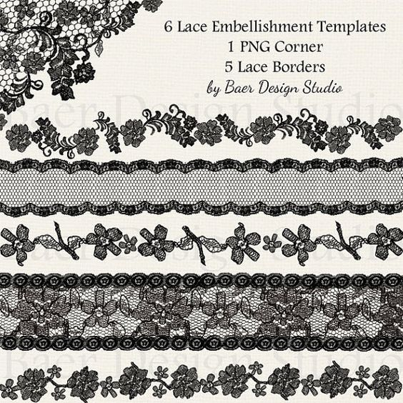 Assorted digital vintage lace trim pieces for wedding cards, bridal shower invitations and digital scrapbooking.