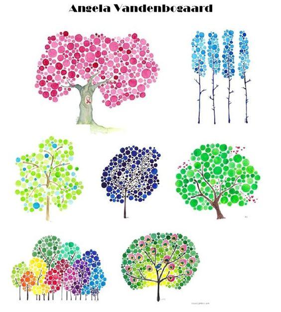 Angela vandenbogaard arbre et ronds arts visuels pinterest - Maison en tronc d arbre ...