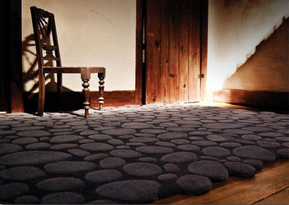 tappeto moderno a motivi in lana della Nuova Zelanda (fatto a mano) PEBBLES PIODAO GROUP