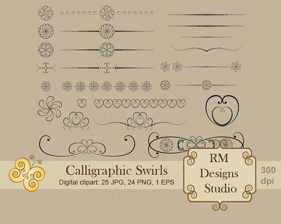 Calligraphic Swirls Digital Clipart by RMDesignsStudio