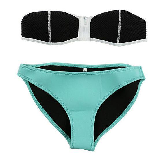 Mint Zipper Strapless Mesh Triangle Bikini Banseau NEOPRENE Swimsuit... ❤ liked on Polyvore featuring swimwear, bikinis, triangle bikini, triangle bikini swimwear, swimsuits two piece, strapless swimsuit and bikini bathing suits