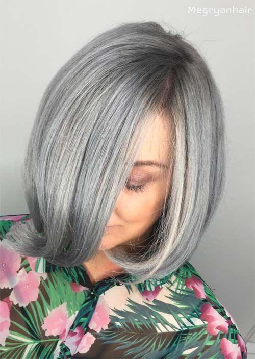 Silbernes Haar Trend 51 Cool Grey Hair Farben Und Tipps Fur Going Grey In 2020 Mit Bildern Frisuren Graue Frisuren Graue Haarfarben