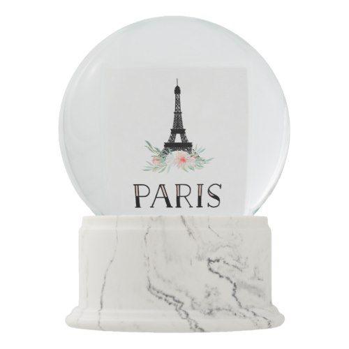 Trendy Eiffel Tower And Blush Pink Flowers Paris Snow Globe