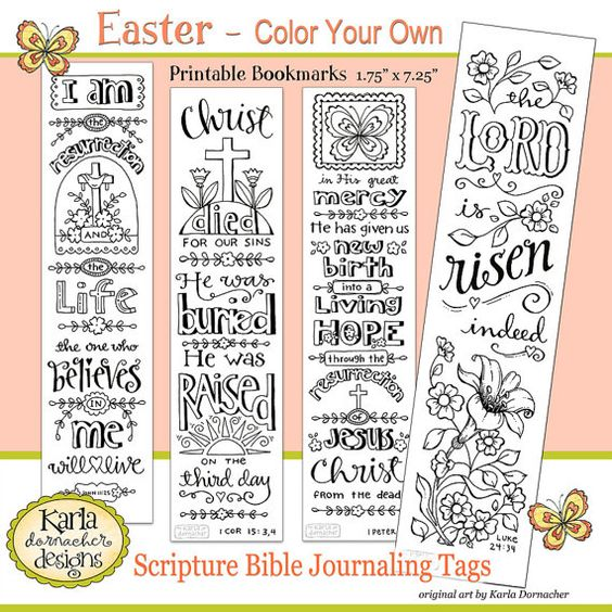 NEW Color Your Own EASTER Bible Bookmarks Bible Journaling Tags INSTANT Download Scripture Digital Printable Download Christian Religious
