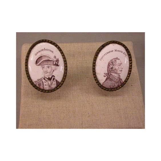 Mirror knobs depicting George Washington and Gouverneur Morris, ca. 1800. New-York Historical Society.