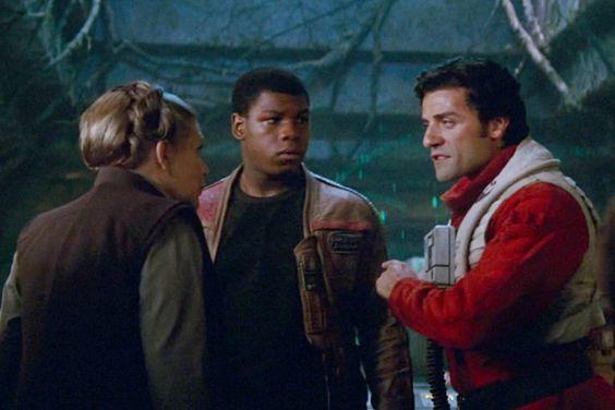 "Carrie Fisher as Princess Leia Organa, John Boyega as Finn, and Oscar Isaac as Poe Dameron in ""Star Wars: The Force Awakens"" (2015)"