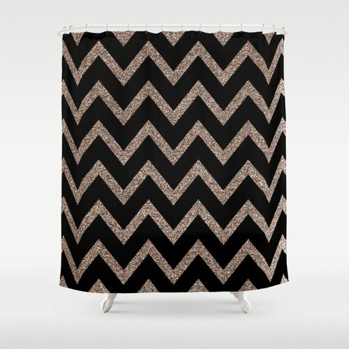 Black and Gold Glitter Chevron Shower Curtain | Chevron, Products ...