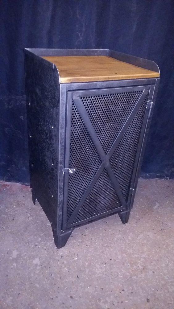 meuble industriel 1 porte grillage croisillon patine graphite  A - meuble en fer design