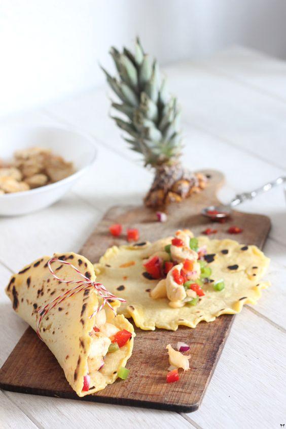 Tortillas - Une touche de rose: blog mode, DIY, cuisine, beauté: Tortillas de maïs, poulet & salade d'ananas colorée