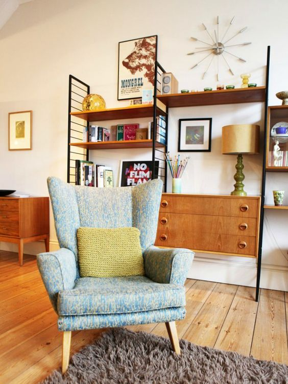 Lesley's beautiful home, filled with secondhand treasures.  In love with this Parker Knoll chair!