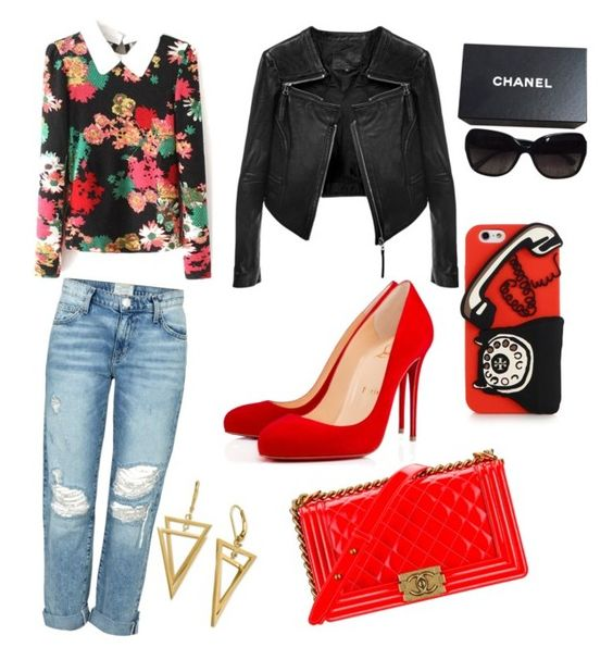 """""""how to wear jacket"""" by debbie-grajeda on Polyvore featuring Christian Louboutin, Current/Elliott, Linea Pelle, Chanel, Tory Burch, women's clothing, women, female, woman and misses"""