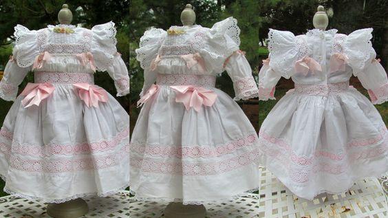 White Dress Bonnet Slip Fits 26in Antique Doll German French Eden BEBE Jumeau | eBay
