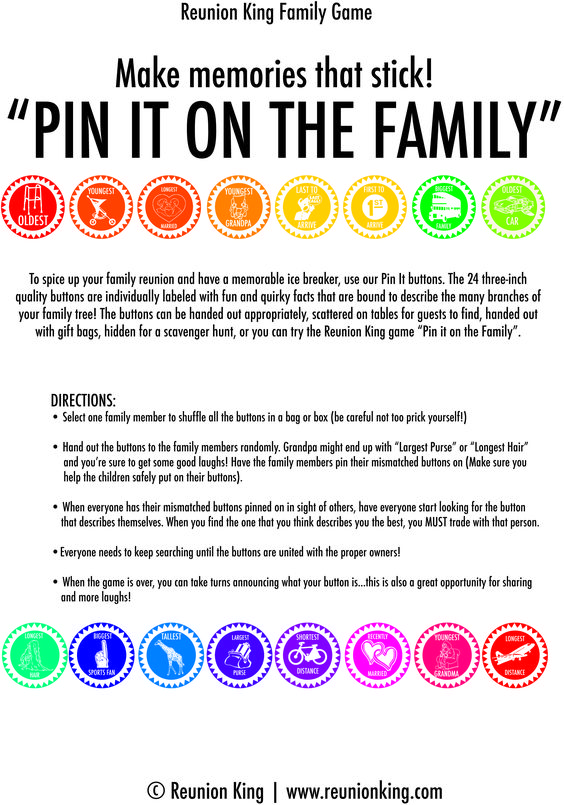 """An awesome Family Reunion game to help mingle the families! Complete with game prompts and a 16 piece full color set of 3"""" buttons. Available exclusively through www.reunionking.com"""