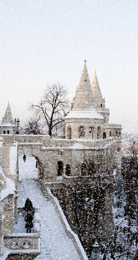 The Royal Palace at winter, Budapest | The 20 Most Stunning Fairytale Castles in Winter hogwarts is real!!