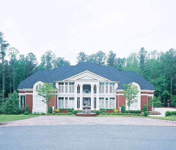 Eplans neoclassical house plan opulent estate 6095 for Neoclassical house plans