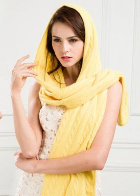 Cashmere scarves with cables online KN5022