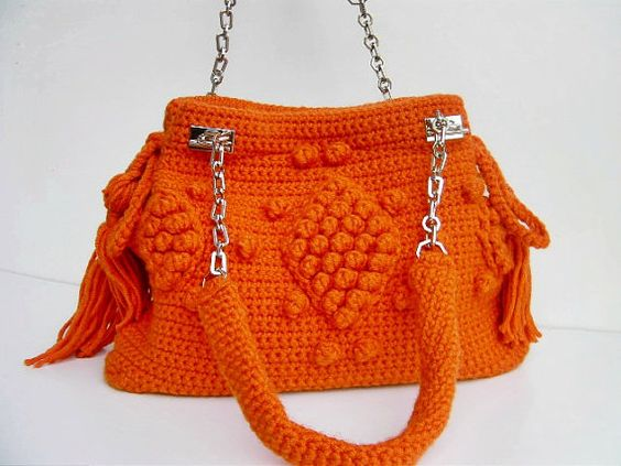crochet/knitting/wool bag/Celebrity style handmade unique bag with metal/crochet straps ,in orange