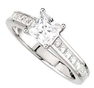 Channel Set Engagement Rings - Princess Cut Diamond Engagement Rings  #