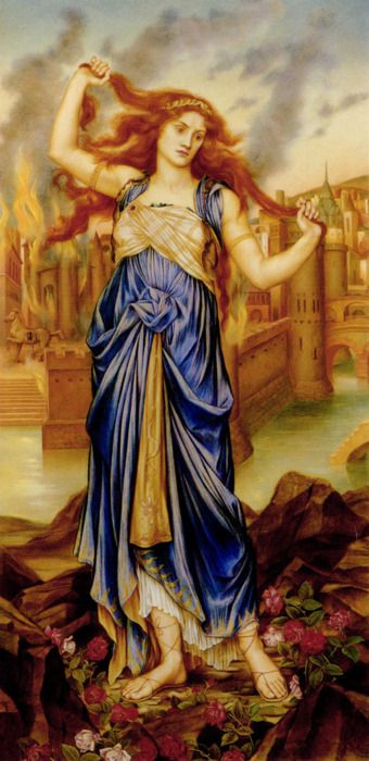 Pre Raphaelite Art: Cassandra, Evelyn de Morgan (1898, London); Cassandra in front of the burning city of Troy at the peak of her insanity. Cassandra was the daughter of King Priam and Queen Hecuba of Troy. She had the power of prophecy and the curse of never being believed. Evelyn De Morgan (nee Pickering; 30 Aug 1855–2 May 1919) was an English Pre-Raphaelite painter. She was married to the ceramicist William de Morgan. She did many beautiful paintings of classical and mythological figures.
