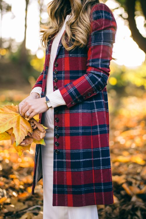 Gal Meets Glam Brooks Brothers Red Plaid Coat Winter White Look