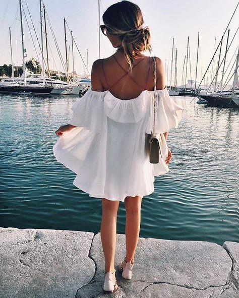 off the shoulder dress: